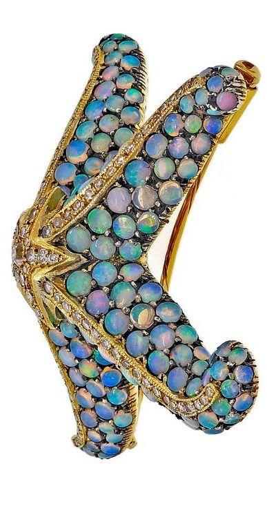 Opal Diamond Silver Gold Starfish Pin