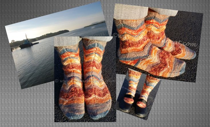 """Ebb and Flow socks knitted in Opal 6 Ply """"Ron"""" colourway. $ pattern available on Ravelry"""