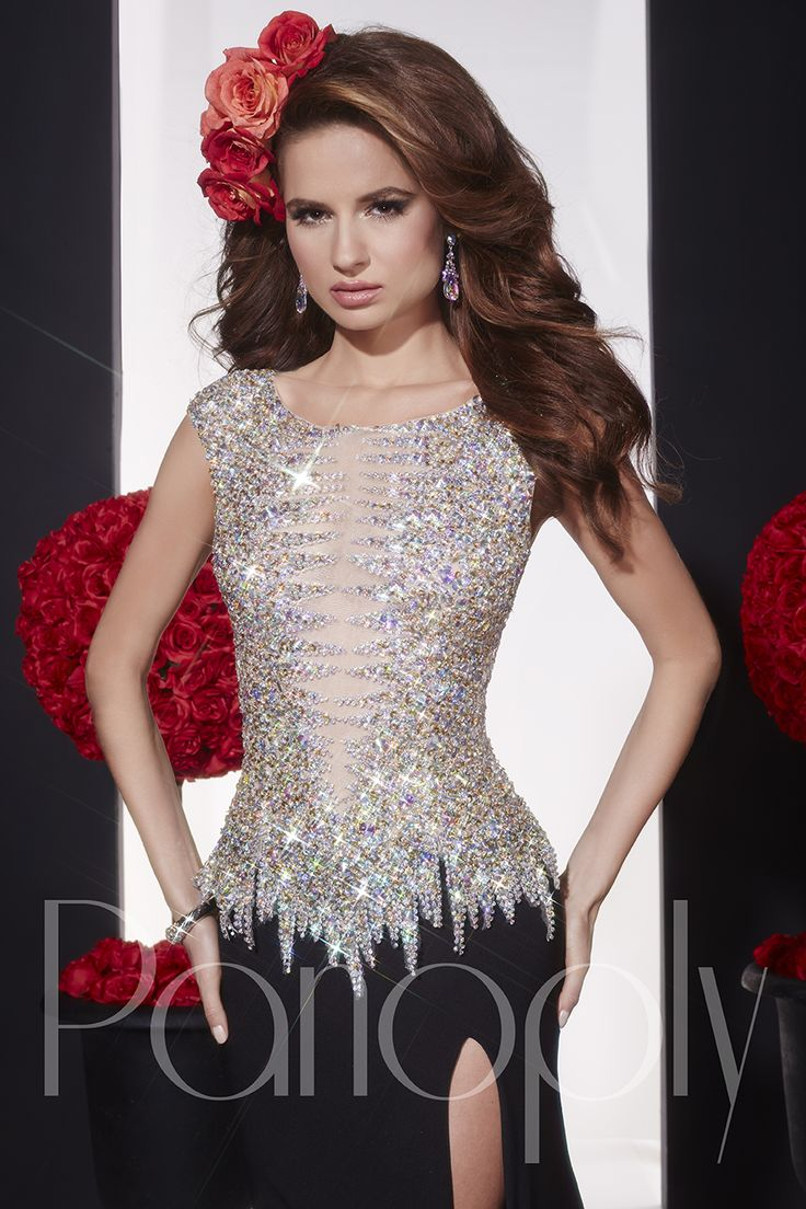 Panoply Style 14714: With bead art like ice crystals enters this bold new style featuring a deep, V-neck Bateau followed by illusion tulle. The dress has a slimming jersey, trumpet skirt with a high front slit. #Panoply #dress #prom #pageant #2015