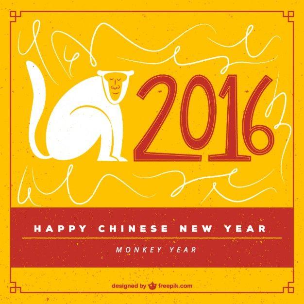 Fondo de feliz año nuevo chino dibujado a mano Vector Gratis