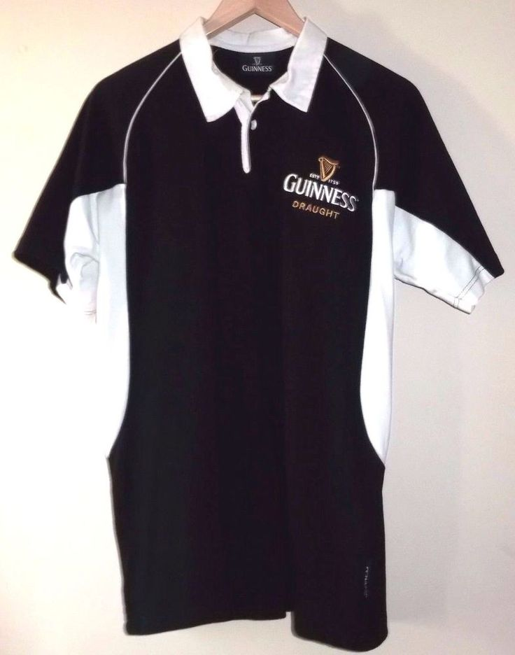 GUINNESS Men's Black & White Size Large Rugby Jersey Shirt #Guinness #RugbyShirts