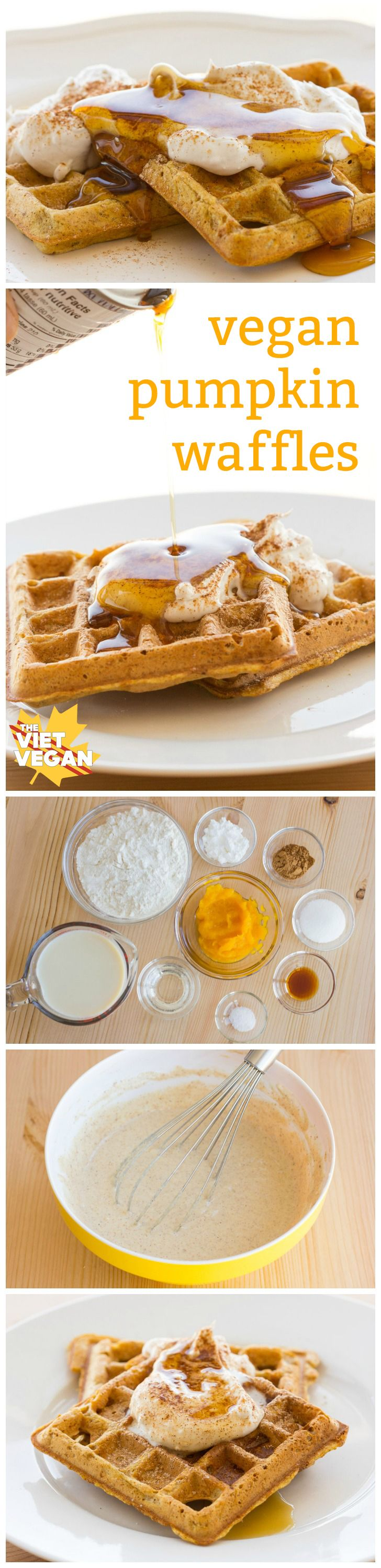 Vegan Pumpkin Waffles | The Viet Vegan | Crisp on the outside, fluffy on the inside, perfect for coconut whipped cream and maple syrup.