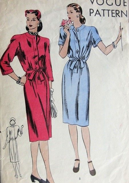 1940s Slim Belted Dress Pattern VOGUE 5234 WW II War Time Easy To Sew Dress Bust 32 Vintage Sewing Pattern