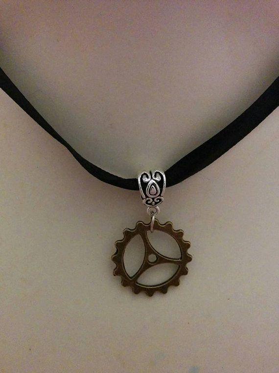 Black Satin Gear Choker Necklace  steam punk  retro by Blackrose37