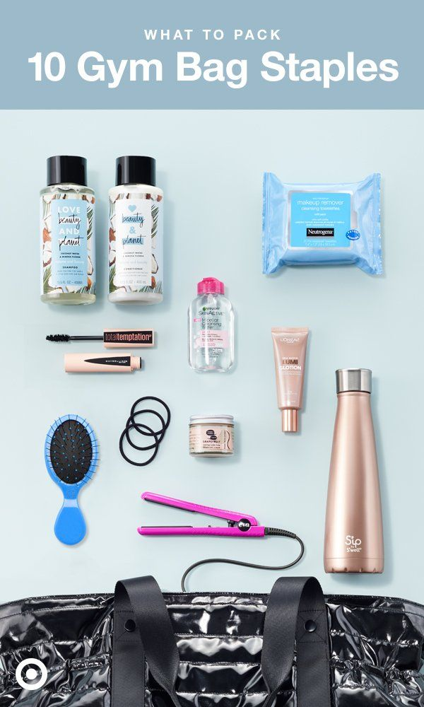 Ten must-pack items for your bag to keep that gym resolution going strong all year long: Love Beauty & Planet Quick Rinse Shampoo & Conditioner; Neutrogena Cleansing Cloths; Garnier Skinactive MicellarWater; L'Oréal Lumi Glotion; Meow Meow Tweet Deodorant Cream; Eva NYC Mini Styling Iron; Scunci No Damage Elastics; Maybelline Total Temptation Mascara; and S'ip by S'well Water Bottle.