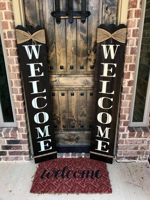 Rustic Wood Welcome Sign Vertical Wooden Welcome Sign 58 Tall By Approximately 10 Wide Welcome Sign Front Porch Front Door Welcome Sign Wooden Welcome Signs Porch Welcome Sign Rustic Wood Signs