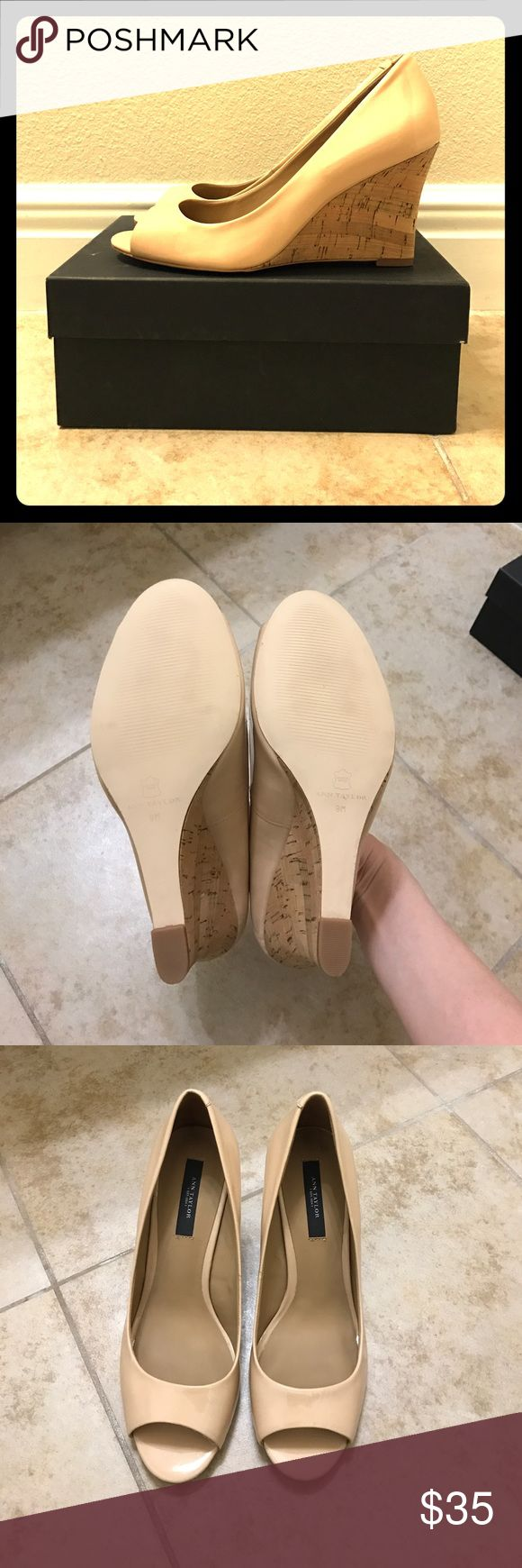 Ann Taylor patent beige and corkscrew wedges, 9.5 Stylish Ann Taylor peep toe patent beige wedges with corkscrew wedge. Size 9.5. Heel height is approx 3.5 inches. No trades, and reasonable offers only. Thanks! Ann Taylor Shoes Wedges