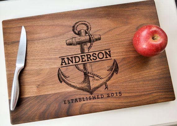 Personalized Cutting Board - Engraved Cutting Board, Custom Cutting Board, Wedding Gift, Housewarming Gift,  Christmas Gift, Nautical Gift
