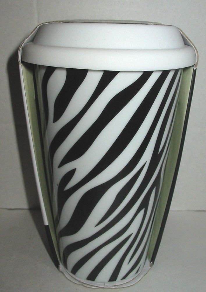 Ciroa Ceramic Travel Coffee Mug Cup Zebra Print White