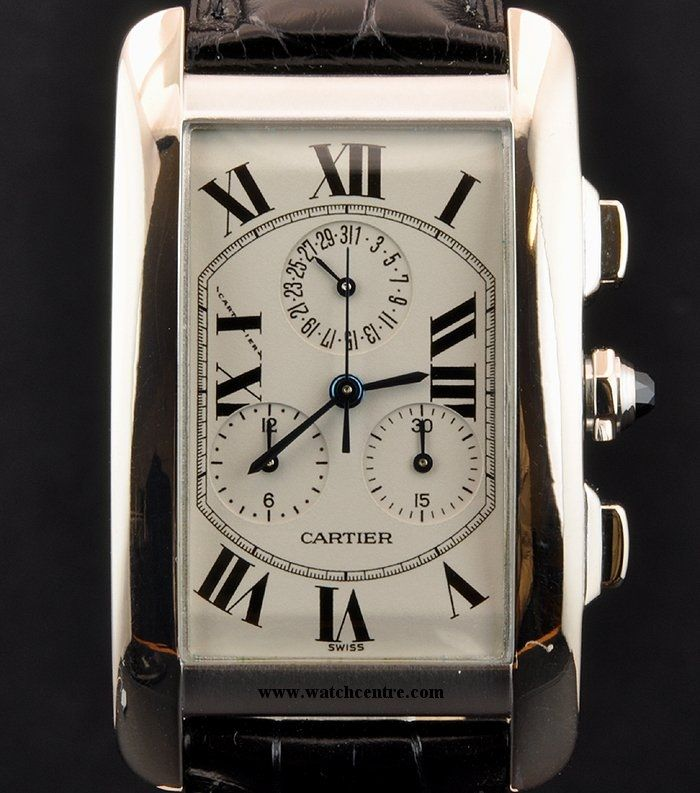 CARTIER 18K WHITE GOLD TANK AMERICAINE CHRONOGRAPH