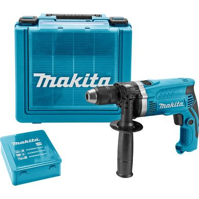 Makita HP1631KX2 klopboormachine + 18-delige borenset. http://www.toolstation.nl/shop/Elektrisch+gereedschap/d40/Klopboormachines/sd2706/Makita+HP1631KX2+klopboormachine+%2B+18-delige+borenset/p96288