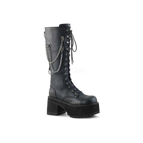 Men's Demonia Ranger 303 Platform Lace-Up Boot ($108) ❤ liked on Polyvore featuring men's fashion, men's shoes, men's boots, black, casual, combat boots, mens lace up boots, mens platform shoes, mens chains and mens monk strap boots