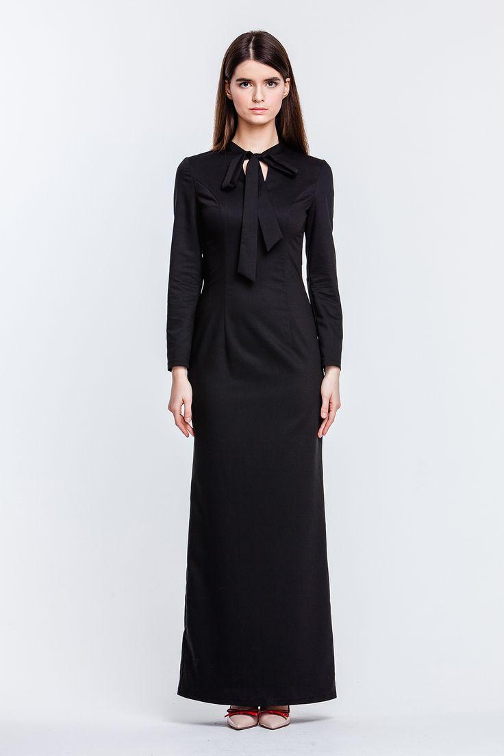 2281 Платье черное макси с бантом купить в Украине, цена в каталоге интернет-магазина брендовой одежды Musthave