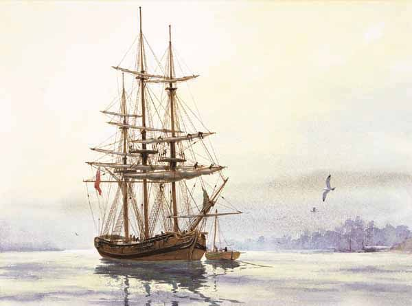 Jim Gray (1932-      )  British Sloop of War  (Watercolor from the historical series of paintings of ships in Mobile Bay)
