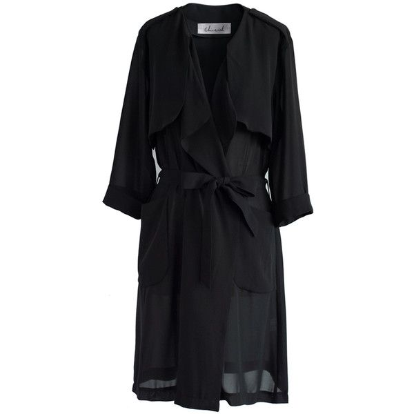 Chicwish Lissome Chiffon Waterfall Trench Coat in Black ($56) ❤ liked on Polyvore featuring outerwear, coats, black, waterfall coat, lightweight coat, waterfall trench coat, tie belt and trench coat