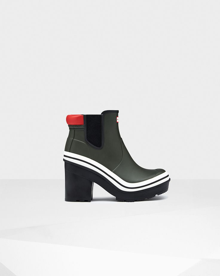 A new, nautical, block heel Chelsea boot in natural rubber.