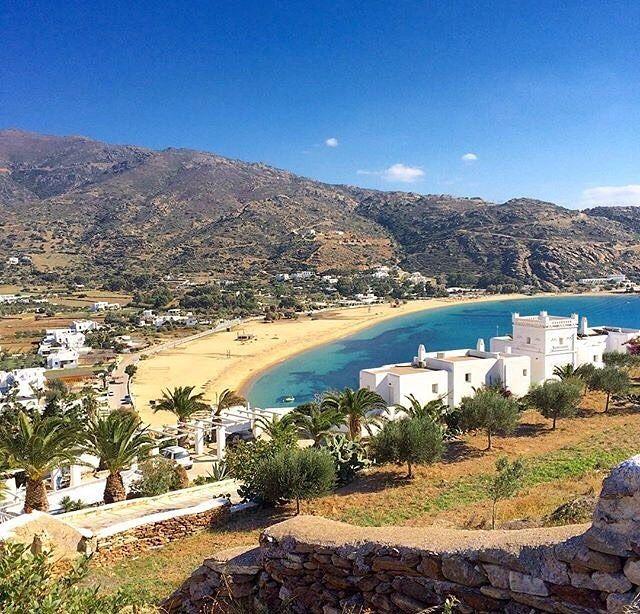 Stunning Mylopotas beach , at Ios island (Ίος)❤️. Looks like a painting ... Long beach and white houses