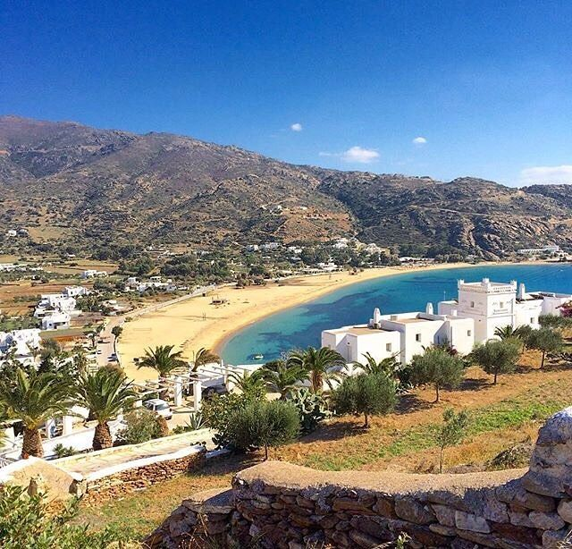 Stunning Mylopotas beach , at Ios island (Ίος)❤️. Looks like a painting ... Long beach and white houses
