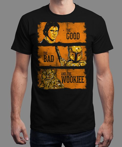 """The Good, The Bad and the Wookiee"" is today's £8/€10/$12 tee for 24 hours only on www.Qwertee.com Pin this for a chance to win a FREE TEE this weekend. Follow us on pinterest.com/qwertee for a second! Thanks:)"