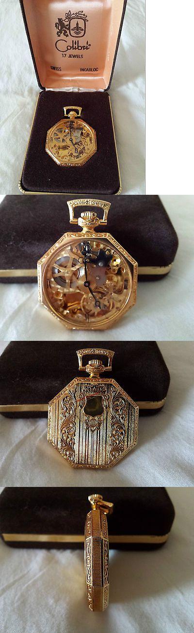 Modern 3938: ***Vintage Colibri, See-Thru Pocket Watch ,17 Jewels, Swiss *** N.O.S. BUY IT NOW ONLY: $150.0