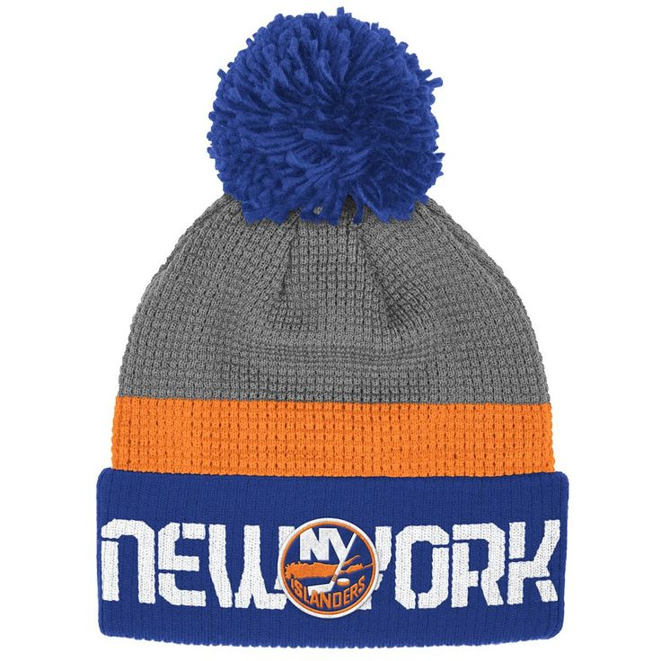 Adult Reebok New York Islanders Cuffed Pom Knit Hat, Men's, Grey