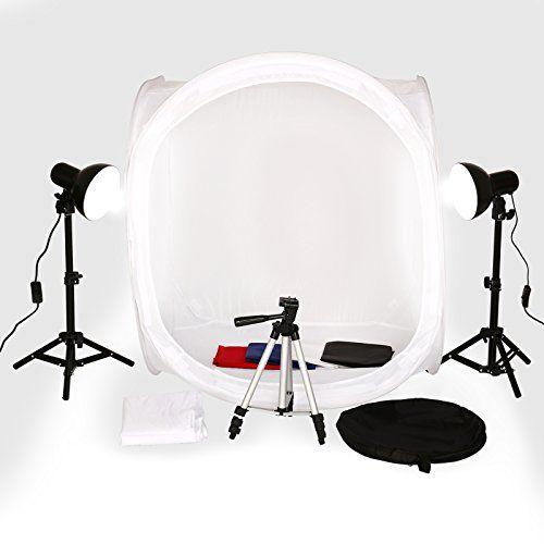 80cm Ministudio mobiles Fotostudio Box set mit Licht Lichtw�rfel ca.80cm + 4 Hintergrund + 2 Studiolampe + 1 Kamerastativ
