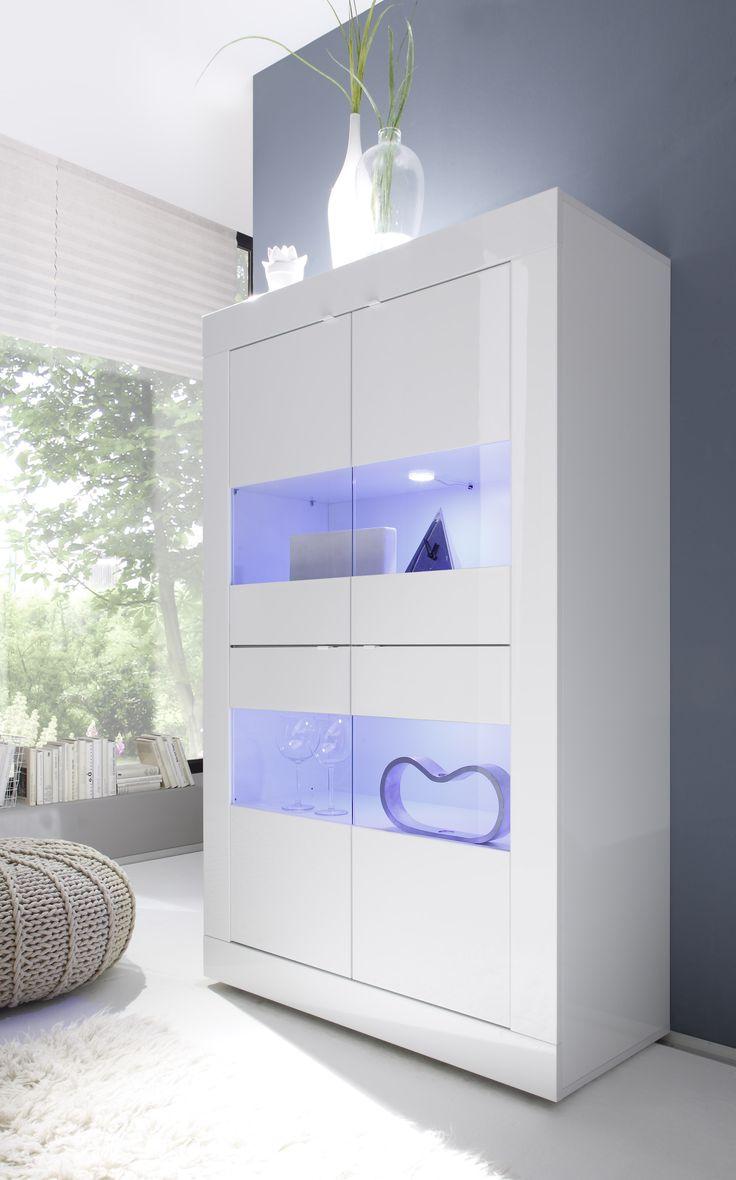 Vitrinekast Basic Gloss voorzien van LED verlichting uitgevoerd in de kleur Hoogglans wit
