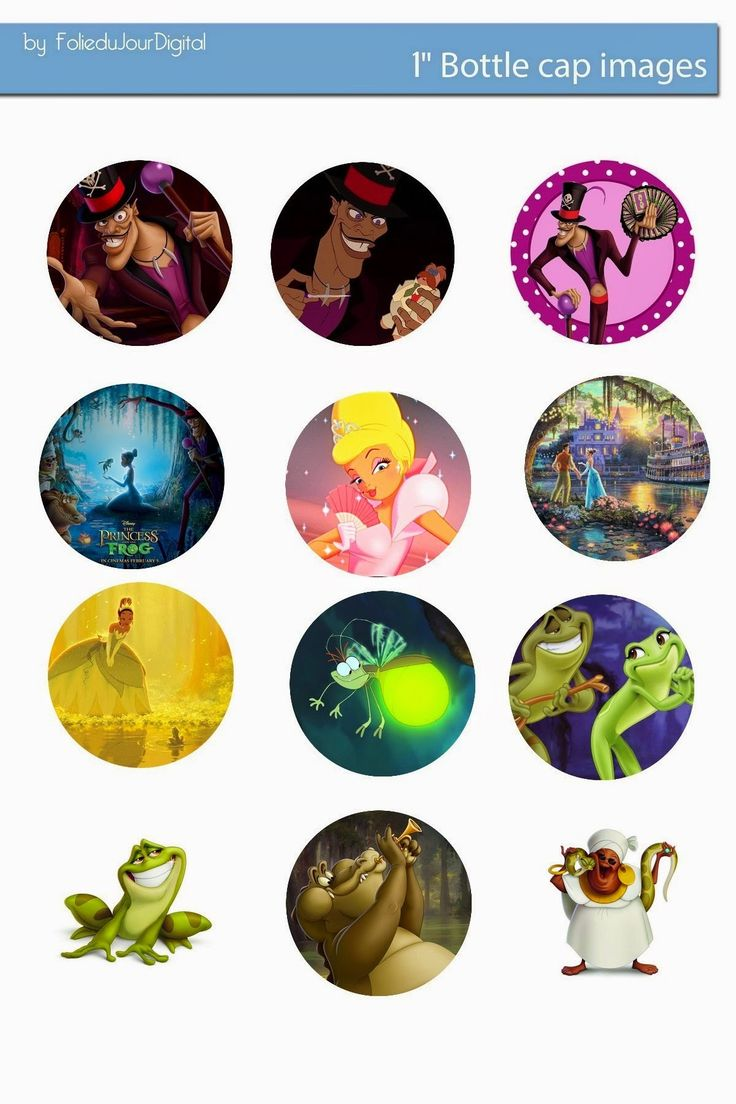 Free Bottle Cap Images: Princess and the Frog disney free digital bottle c...