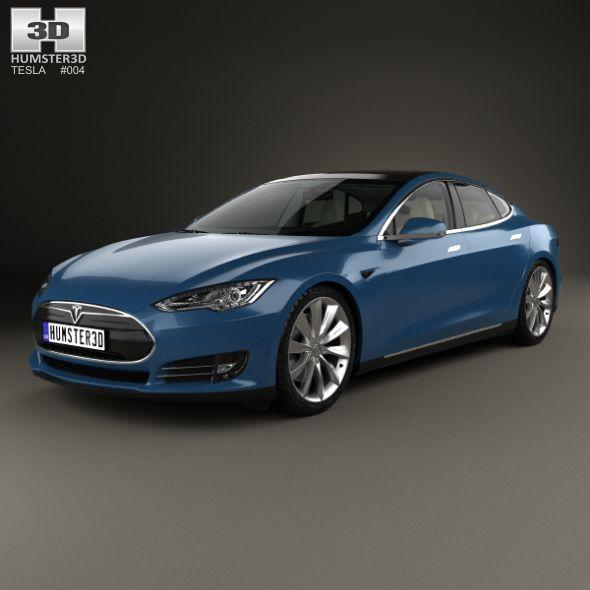 Tesla Model S With Hq Interior 2014 Tesla Model S Tesla Model Car 3d Model