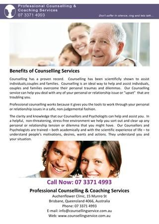 Counselling has a proven record.  Counselling has been scientificlly shown to assist individuals,couples and families.