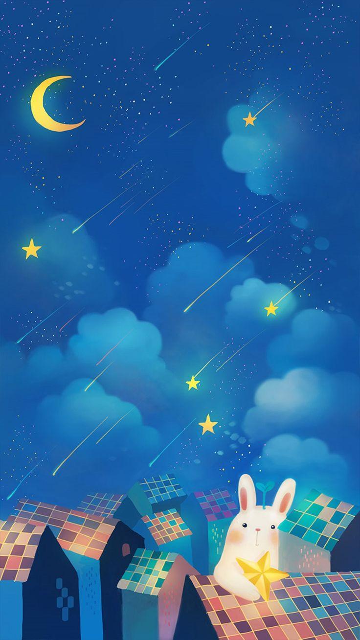Romantic Night Moon Star Clouds Sky Rabbit House Top iPhone 6 wallpaper
