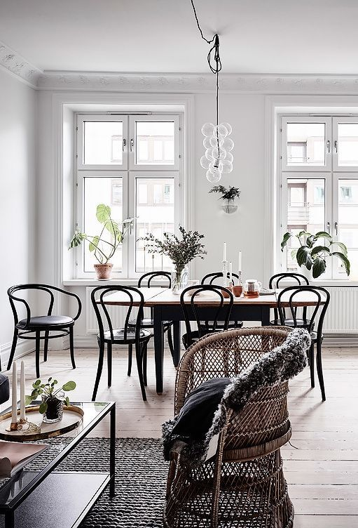 Gorgeous dining room with bentwood chairs