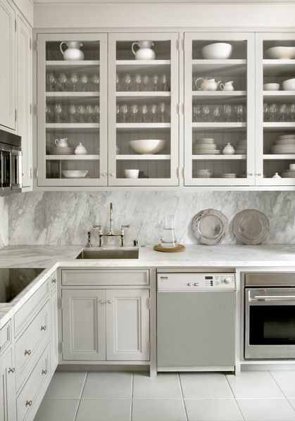 In interest of continuing with tradition... a beautiful grey kitchen for you today. I have started to really love the solid slab back splash lately... so dream