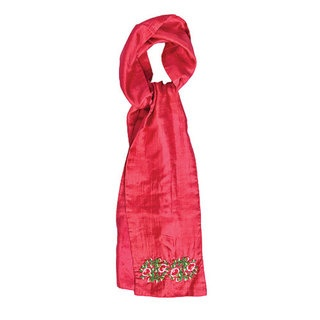 Our unbelievably soft 100% silk scarf is a fabulous way to add a pop of colour to your wardrobe this winter! Made of finest quality parachute silk this scarf features our Beaded Flower design, this is based on one of Tamsin's signature embroideries. The intricately hand embroidered pink and red roses are delightfully feminine and girly.