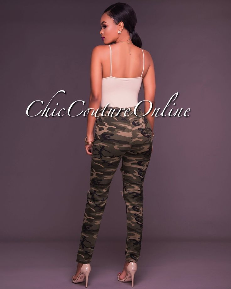 Chic Couture Online - Leesa Camo Destroyed Pull On Pants,  (http://www.chiccoutureonline.com/leesa-camo-destroyed-pull-on-pants/)