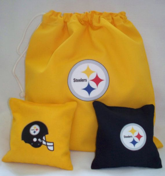 Steelers  Cornhole Toss Set with Logos on the Bags