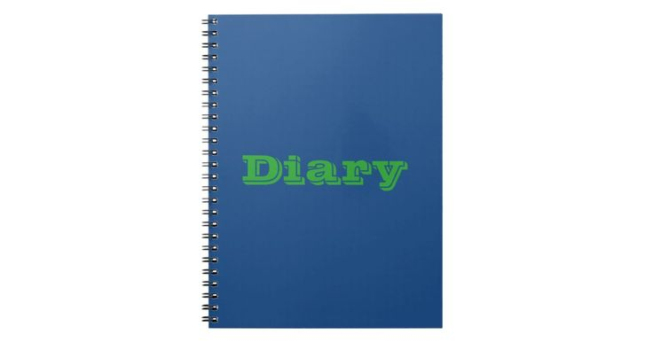 Green Text on Blue Background Notebook