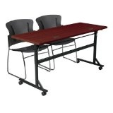 "Economy Flipper Training Table Width: 72"", Color: Mahogany (Office Product)"
