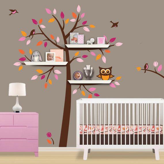 Vinyl Baum Wand Aufkleber Mit Regale Regal Eule Vogel Blume Startseite Baby Zimmer Wall