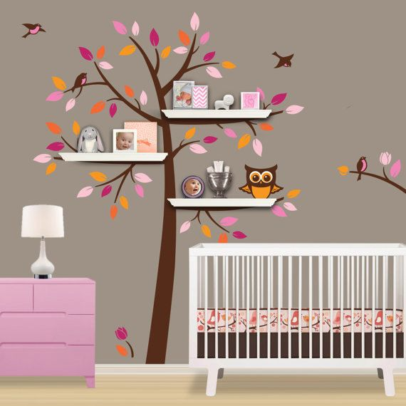 vinyl baum wand aufkleber mit regale regal regale aufkleber eule vogel blume startseite baby. Black Bedroom Furniture Sets. Home Design Ideas