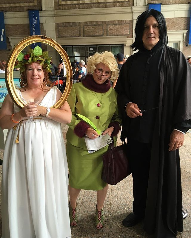Pin for Later: 30+ Harry Potter Group Costume Ideas For Anyone Trying to Forget They're a Muggle The Fat Lady, Rita Skeeter, and Severus Snape