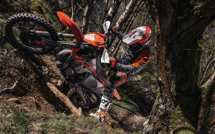 Download wallpapers extreme, KTM 300 EXC TPI, 2018 bikes, offroad, forest, rider, motocross, KTM