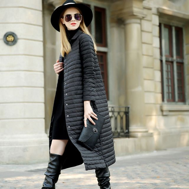 2015 Womens Winter Jackets And Coats Ultra Light Duck Down Jacket Long Berief Single Breasted Parkas parcas XL US $59.42 To Buy Or See Another Product Click On This Link  http://goo.gl/yekAoR