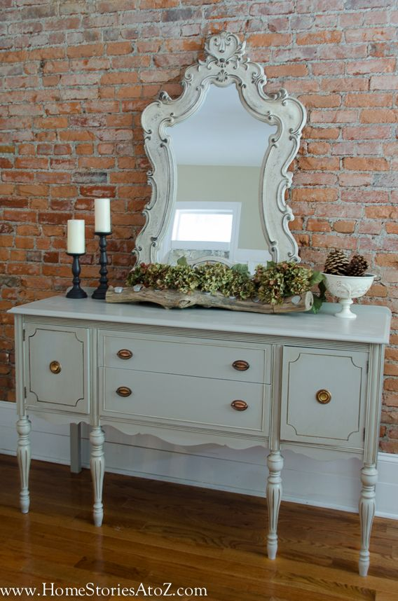 Gray Painted Buffet DIY Painting A Vintage Buffet: 1) Sand 60, 120,