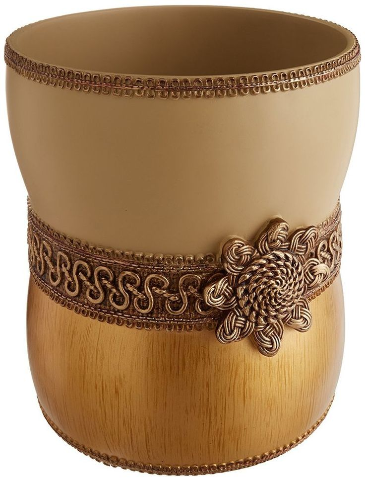 Braided Medallion Waste Basket Contemporary Resin #Avanti