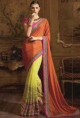 Impressive Lime Yellow and Saffron Saree  https://www.ethanica.com/products/impressive-lime-yellow-and-saffron-saree