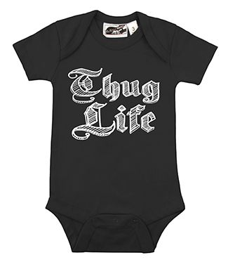 Thug Life Black Onesie  - cool, punk, rocker, hip hop, urban & alternative baby onesies, baby shower gifts, and toddler clothes by My Baby Rocks
