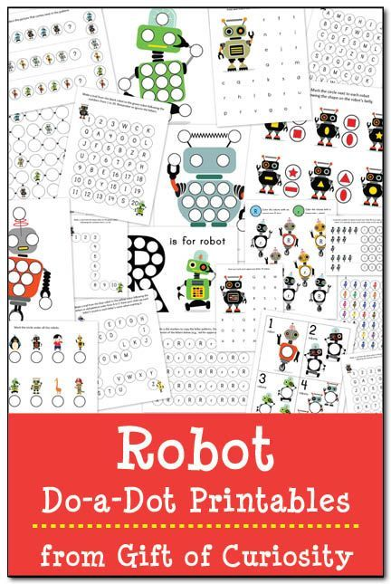 Robot Do-a-Dot Printables: 20 pages of robot do-a-dot worksheets for kids ages 2-6 #DoADot || Gift of Curiosity