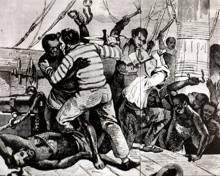 Mutiny on  a slave trade ship by the slaves. It is estimated that one in every ten ships had a mutiny during the Middle Passage. Slaves also resisted  the slave traders by fasting,  jumping overboard, or by attempting suicide.