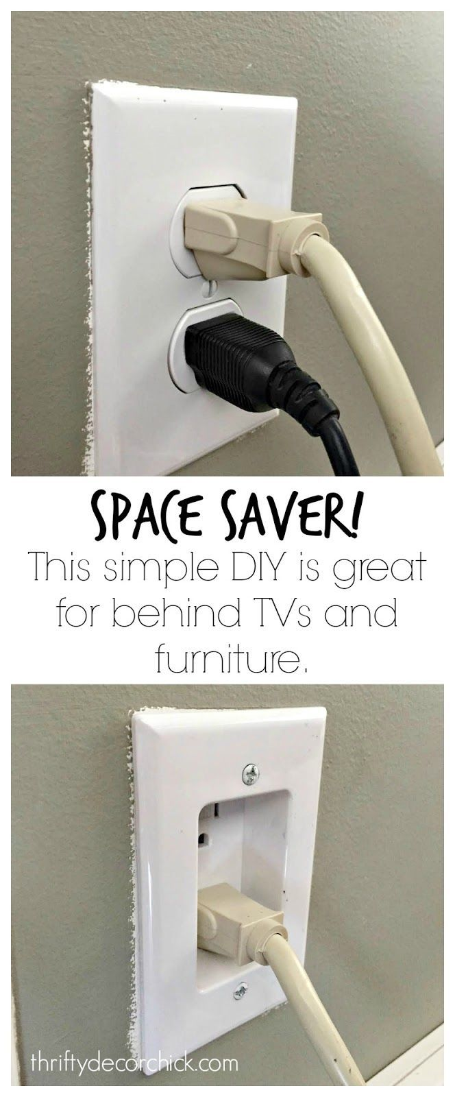 Space Saver! This simple DIY is great for behind TVs and furniture!